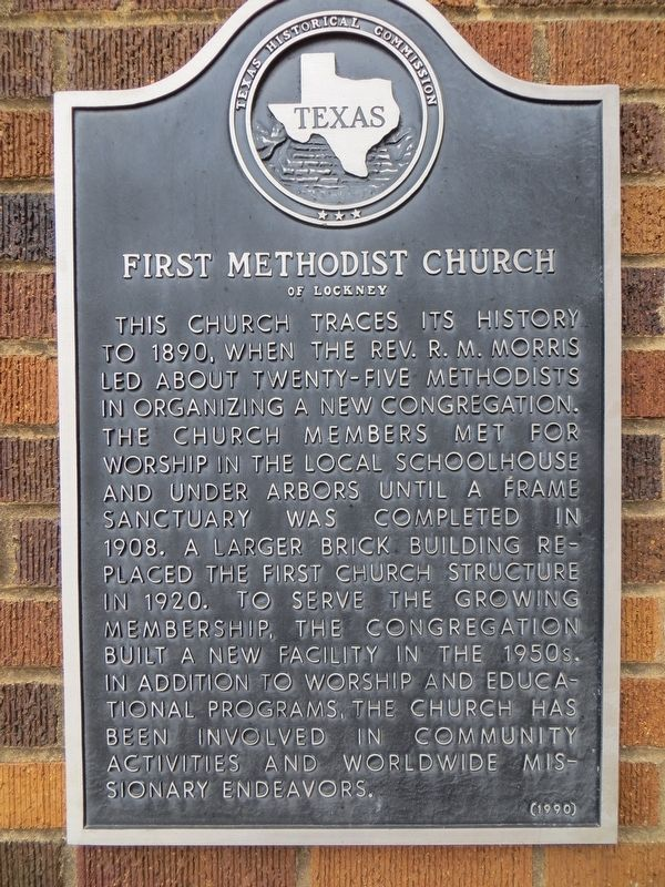First Methodist Church of Lockney Marker image. Click for full size.