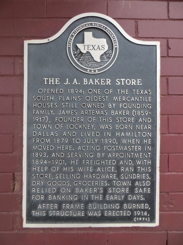 The J. A. Baker Store Marker image. Click for full size.