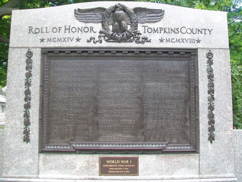 Tompkins County World War I Roll of Honor image. Click for full size.
