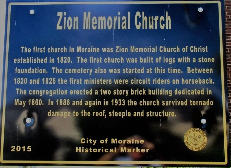 Zion Memorial Church Marker image. Click for full size.