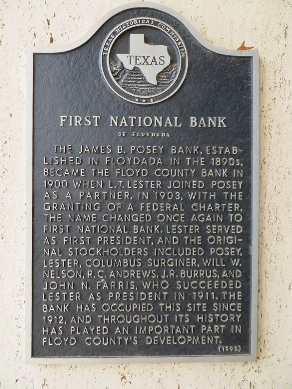 First National Bank of Floydada Marker image. Click for full size.
