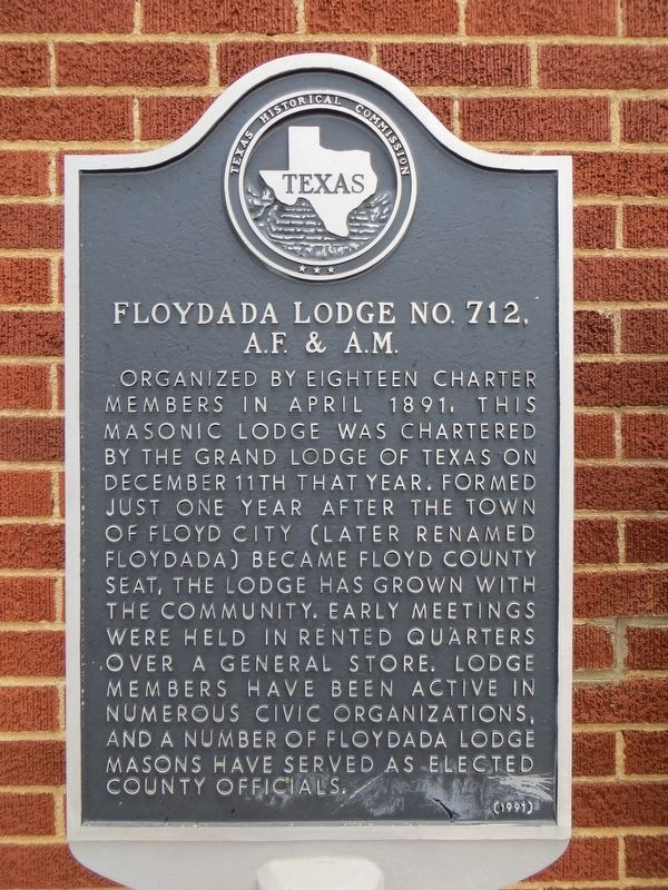 Floydada Lodge No. 712, A. F. & A. M. Marker image. Click for full size.