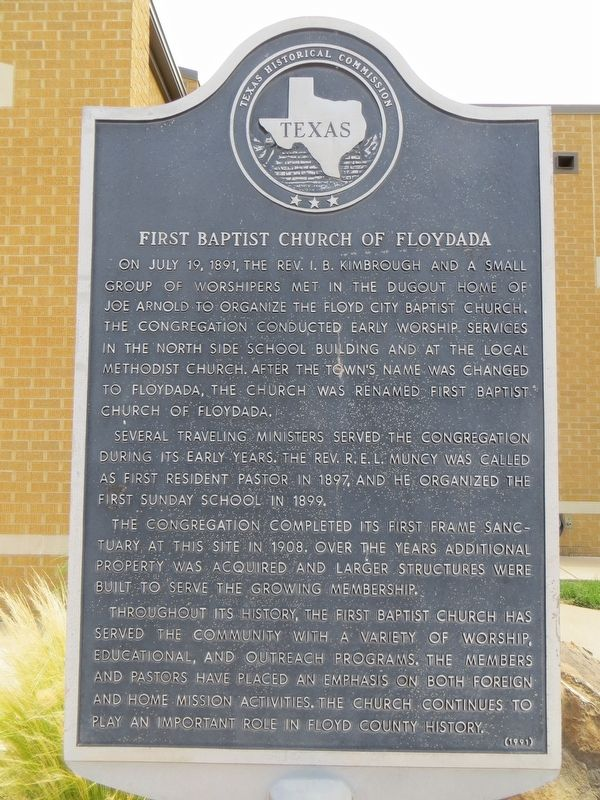 First Baptist Church of Floydada Marker image. Click for full size.