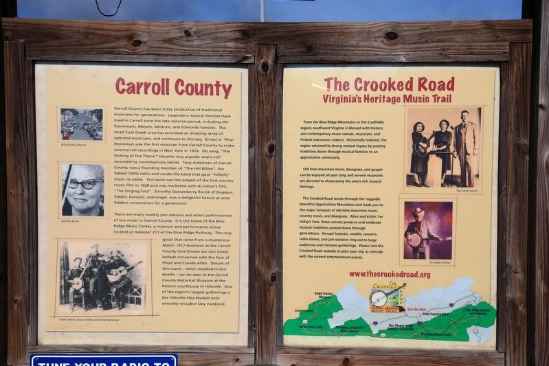 The Crooked Road Carroll County Marker image. Click for full size.