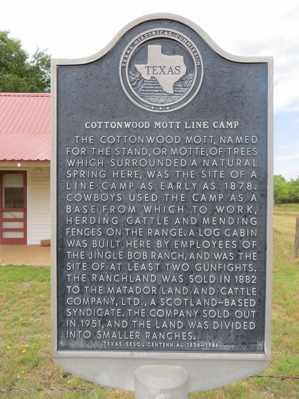 Cottonwood Mott Line Camp Marker image. Click for full size.