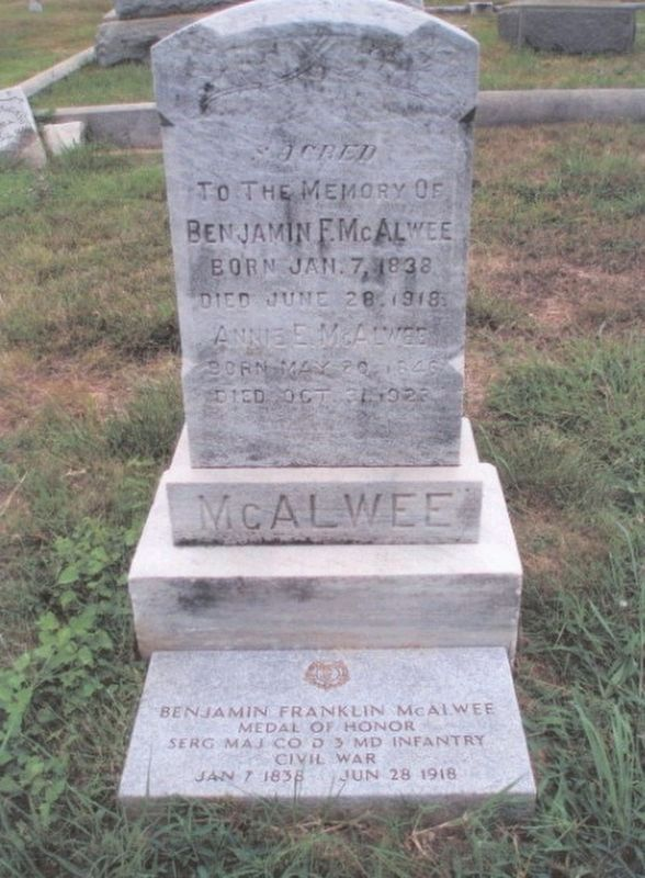 Benjamin F. McAwee-Medal of Honor Recipient-grave marker image. Click for full size.