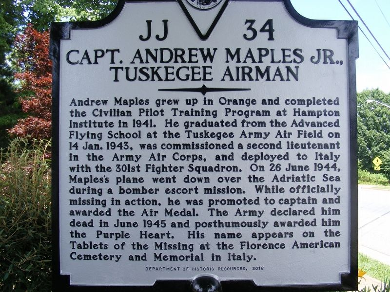 Capt. Andrew Maples Jr., Tuskegee Airman Marker image. Click for full size.