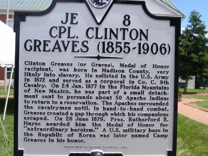 Cpl. Clinton Greaves (1855-1906) Marker image. Click for full size.