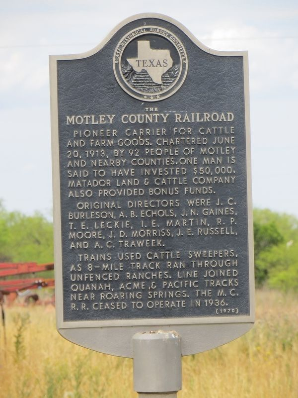 The Motley County Railroad Marker image. Click for full size.