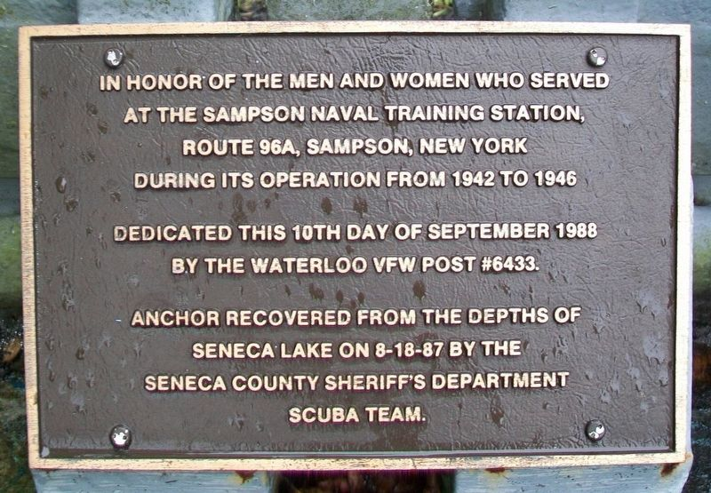 Sampson Naval Training Station Veterans Marker image. Click for full size.