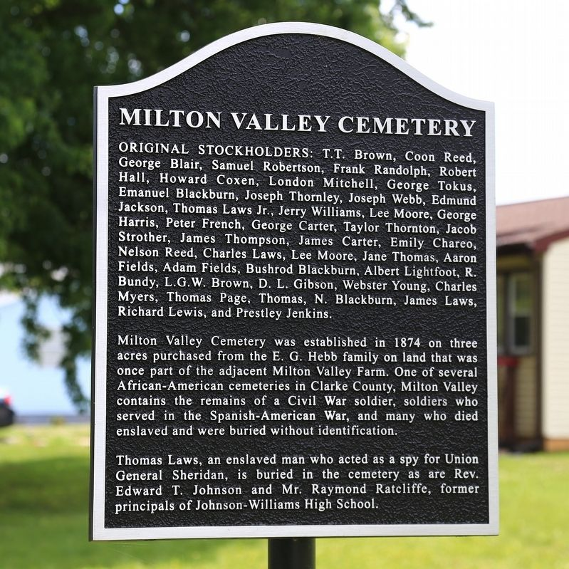 Milton Valley Cemetery Marker image. Click for full size.