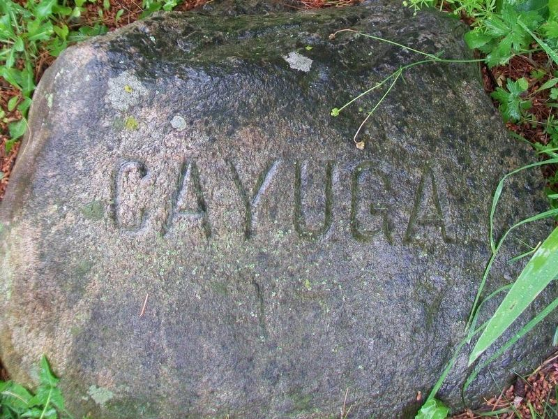 Cayuga Six Nations stone at base of Red Jacket Monument image. Click for full size.