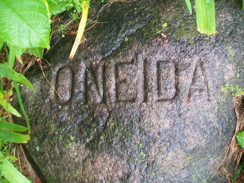 Oneida Six Nations stone at base of Red Jacket Monument image. Click for full size.