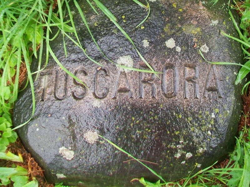 Tuscarora Six Nations stone at base of Red Jacket Monument image. Click for full size.