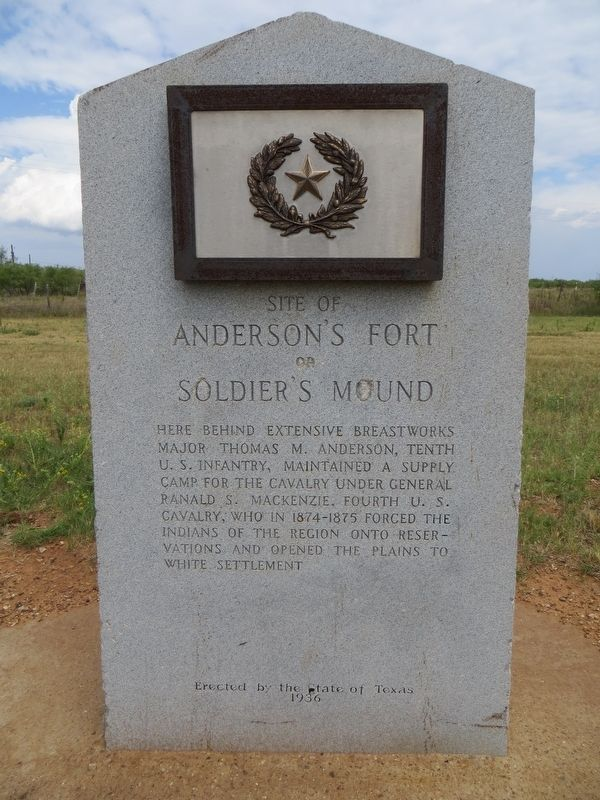 Site of Anderson's Fort or Soldier's Mound Marker image. Click for full size.