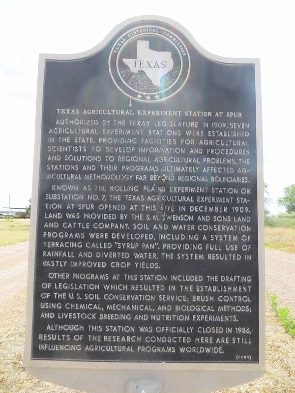 Texas Agricultural Experiment Station at Spur Marker image. Click for full size.