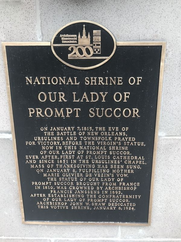 National Shrine of Our Lady of Prompt Succor Marker image. Click for full size.