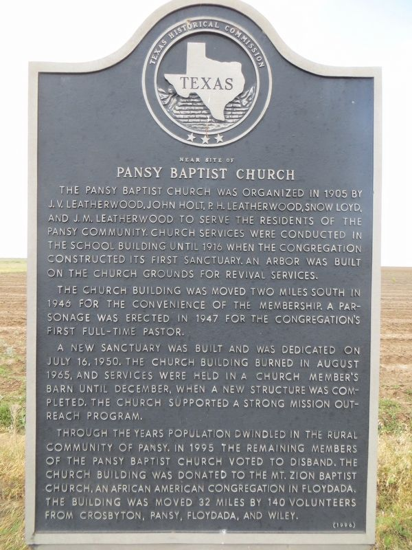 Pansy Baptist Church Marker image. Click for full size.