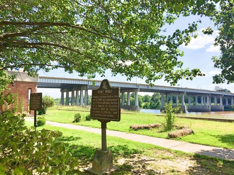 View of I-20 bridge over the Ouachita River and former area of Fort Miro. image. Click for full size.