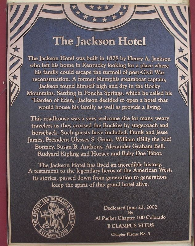 The Jackson Hotel Marker image. Click for full size.
