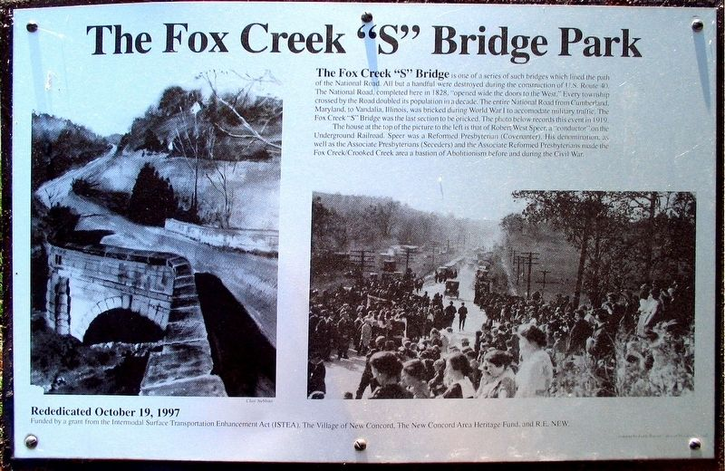 "Fox Creek ""S"" Bridge Park Marker image. Click for full size."