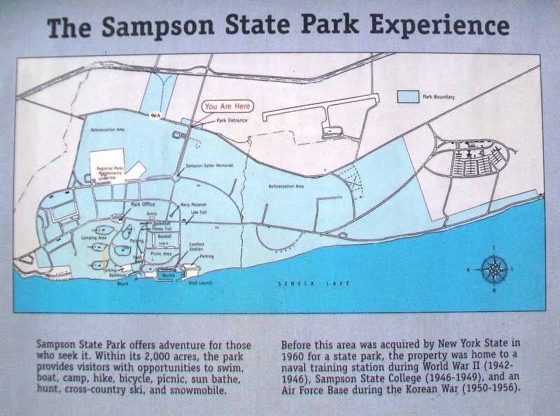 The Sampson State Park Experience Marker Excerpt image. Click for full size.