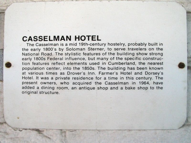 Casselman Hotel Marker image. Click for full size.