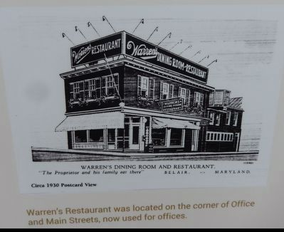 Warren's Restaurant was located on the corner of Office and Main Streets, now used for offices. image. Click for full size.