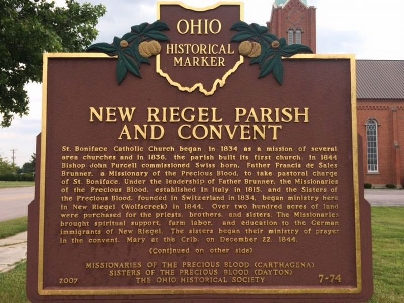 New Riegel Parish and Convent Marker Side 1 image. Click for full size.