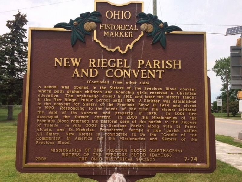 New Riegel Parish and Convent Marker Side 2 image. Click for full size.