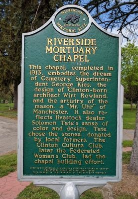 Riverside Mortuary Chapel / Wirt Rowland Marker - Side 1 image. Click for full size.
