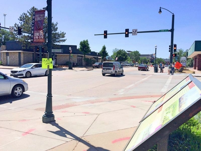 View from marker towards intersection of Wilcox & Third Street. image. Click for full size.