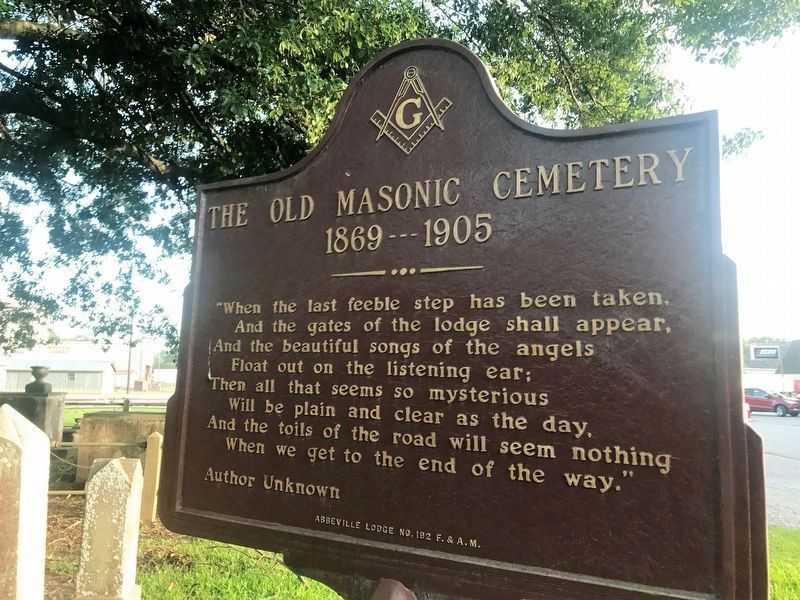 The Old Masonic Cemetery Marker image. Click for full size.