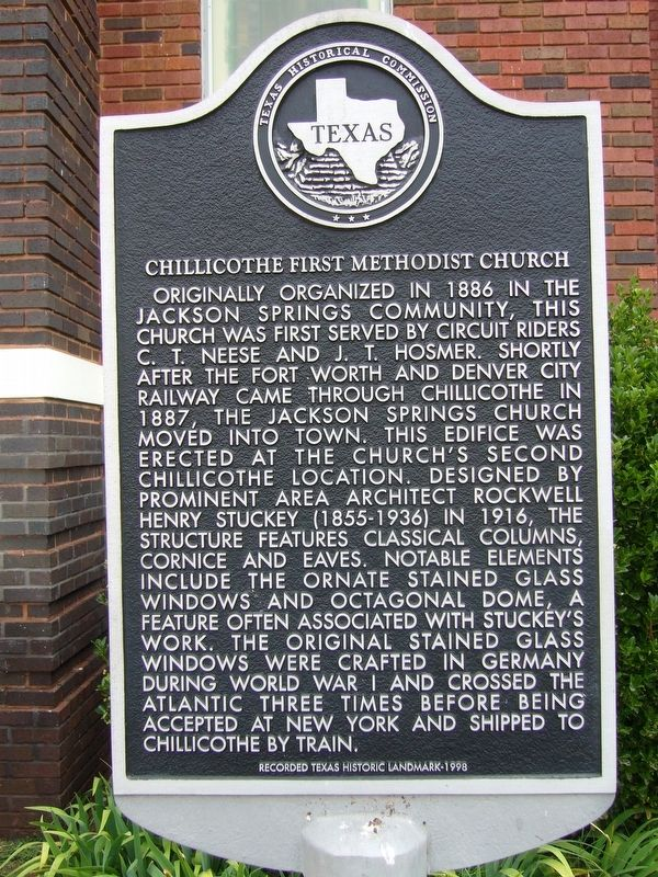 Chillicothe First Methodist Church Marker image. Click for full size.
