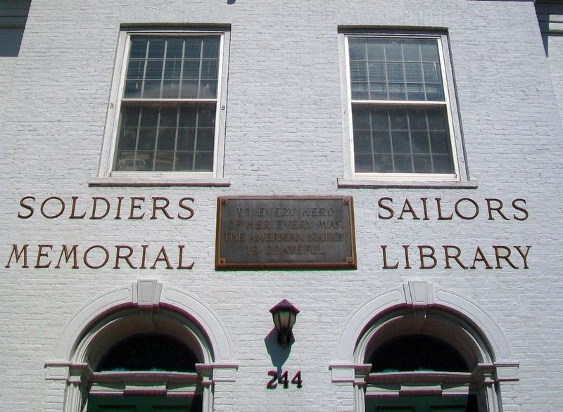 Soldiers • Sailors Memorial Library Marker image. Click for full size.