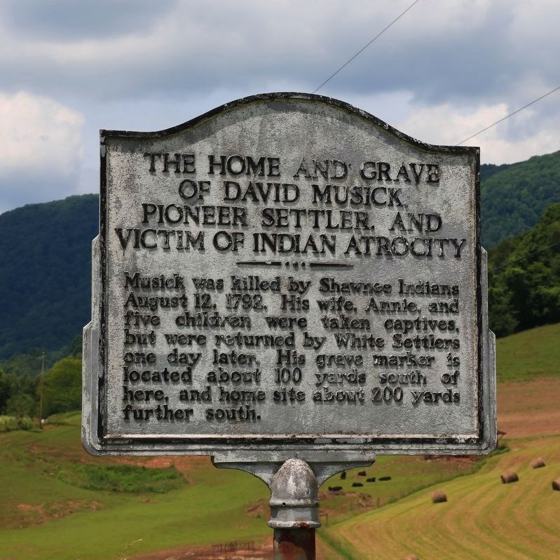 The Home and Grave of David Musick Marker image. Click for full size.