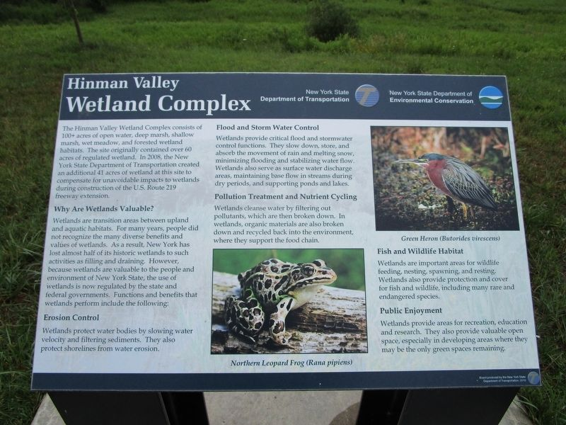 Hinman Valley Wetland Complex Marker image. Click for full size.