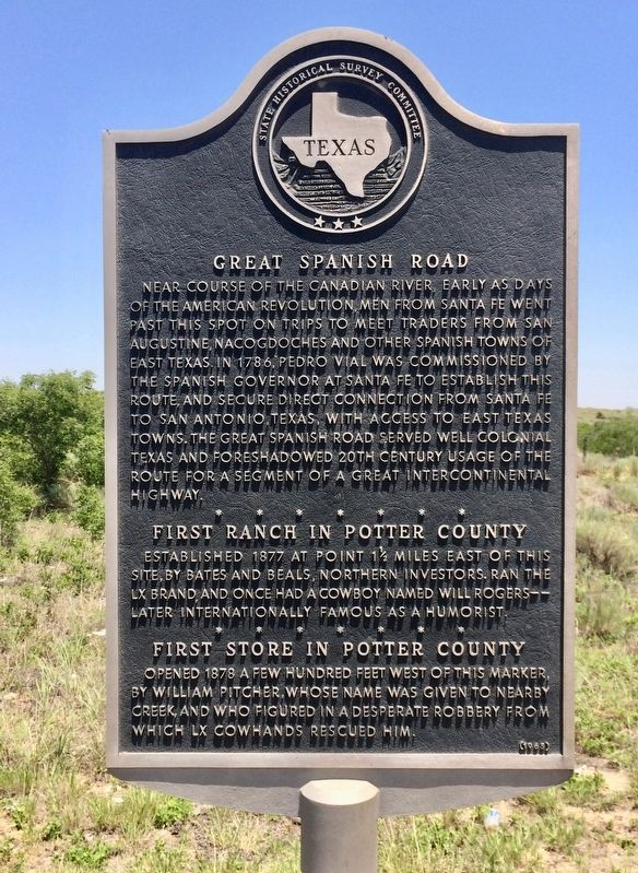 Great Spanish Road / First Ranch in Potter County / First Store in Potter County Marker image. Click for full size.