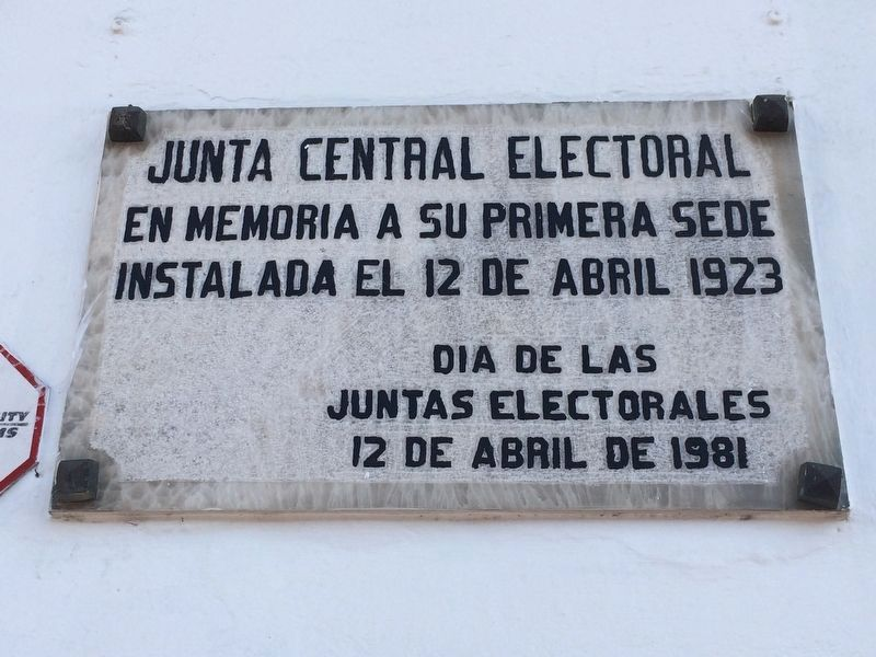 An additional, nearby marker on the first national electoral board here in 1923 image. Click for full size.