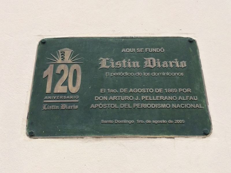 The Founding of the <i>Listín Diario</i> Marker image. Click for full size.