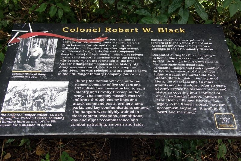 Colonel Robert W. Black Marker image. Click for full size.