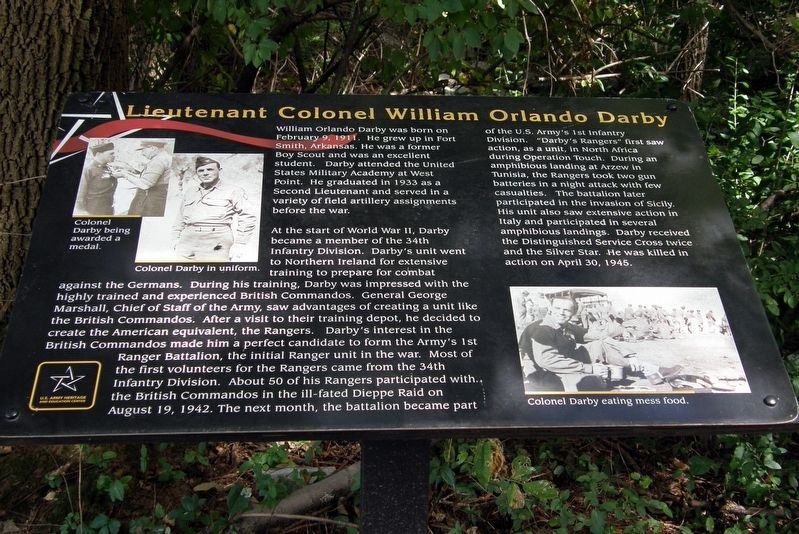 Lieutenant Colonel William Orlando Darby Marker image. Click for full size.