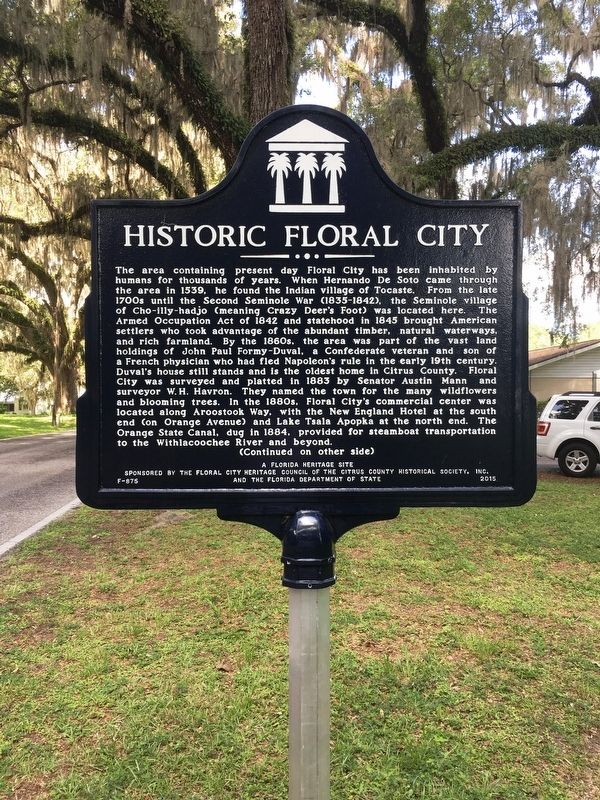 Historic Floral City Marker image. Click for full size.