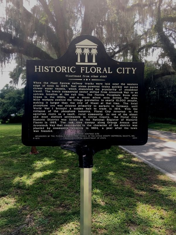 Historic Floral City Marker Side 2 image. Click for full size.