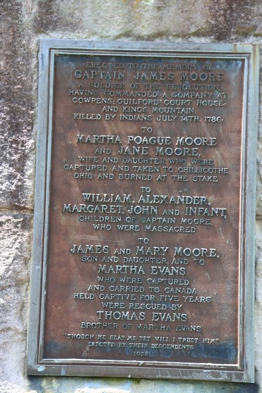 Tablet on Captain James Moore Monument image. Click for full size.