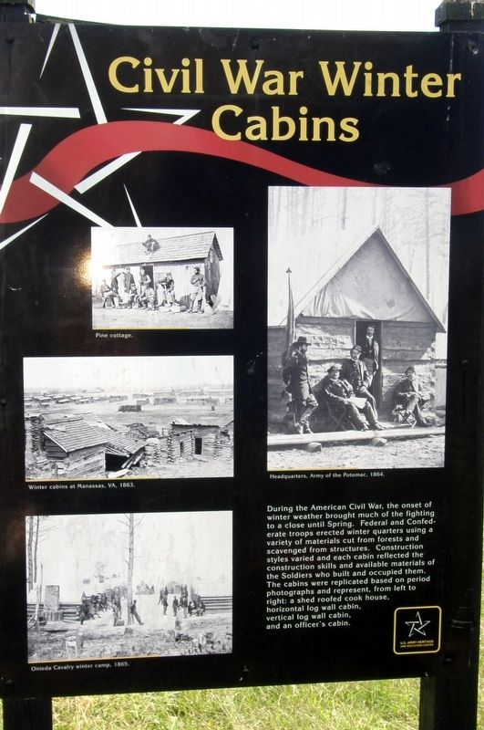 Civil War Winter Cabins Marker image. Click for full size.