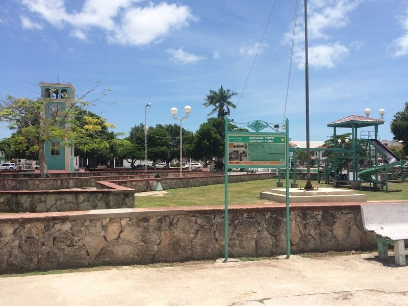 Corozal Town Central Park Marker image. Click for full size.