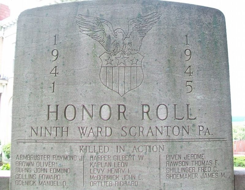Ninth Ward World War II Killed in Action Honor Roll image. Click for full size.