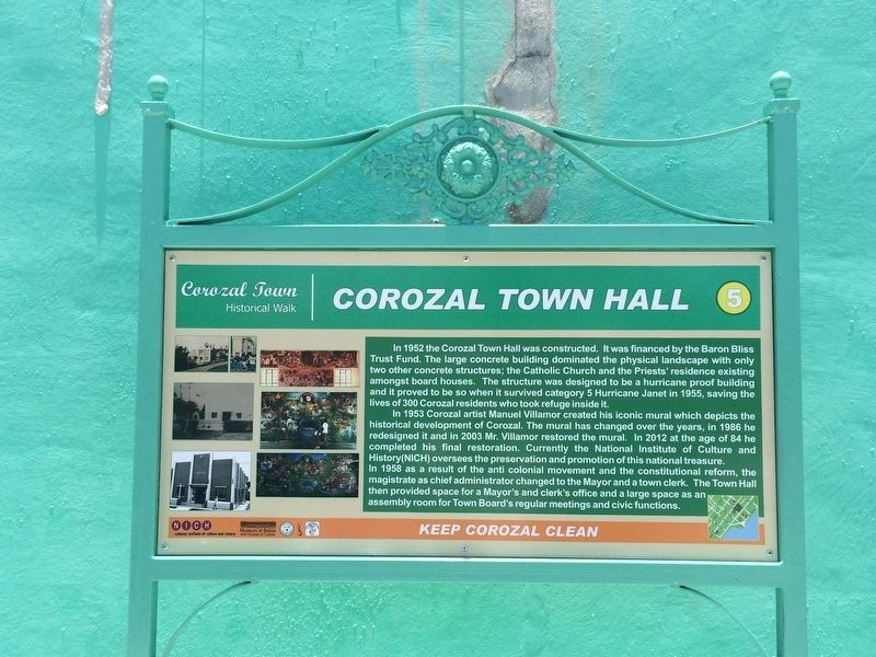 Corozal Town Hall Marker image. Click for full size.