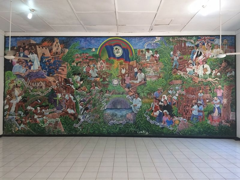 The Corozal Town Hall's historic mural by Manuel Villamor image. Click for full size.